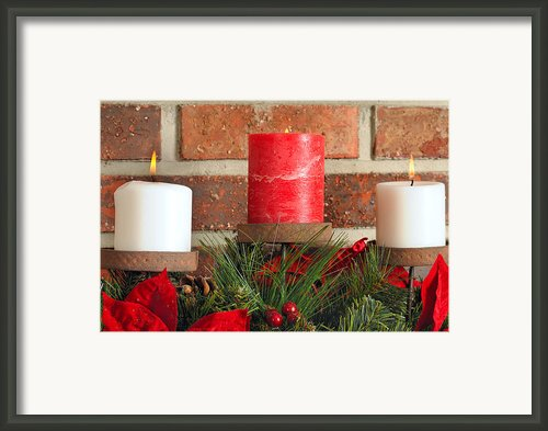 Three Christmas Candles Framed Print By Kenneth Sponsler