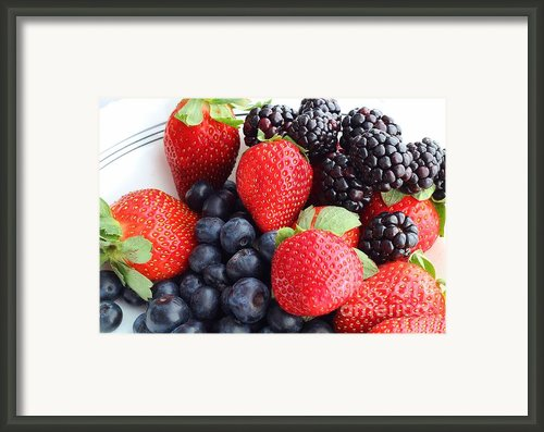 Three Fruit - Strawberries - Blueberries - Blackberries Framed Print By Barbara Griffin