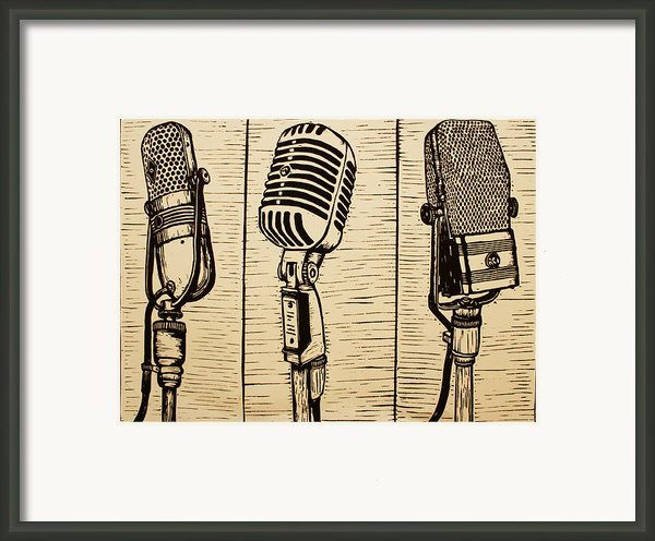 Three Microphones Framed Print By William Cauthern