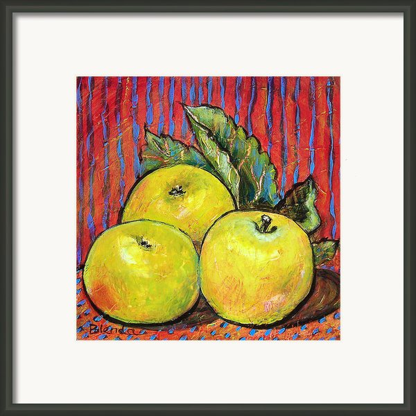 Three Yellow Apples Framed Print By Blenda Studio