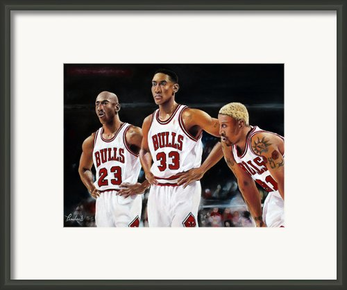Threepeat - Chicago Bulls - Michael Jordan Scottie Pippen Dennis Rodman Framed Print By Prashant Shah