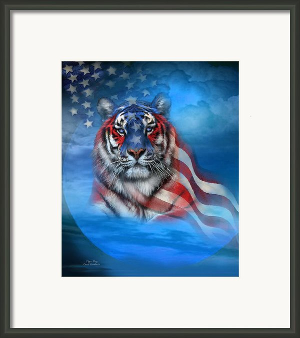 Tiger Flag Framed Print By Carol Cavalaris