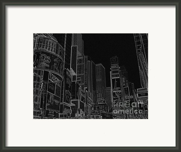 Times Square Nyc White On Black Framed Print By Meandering Photography