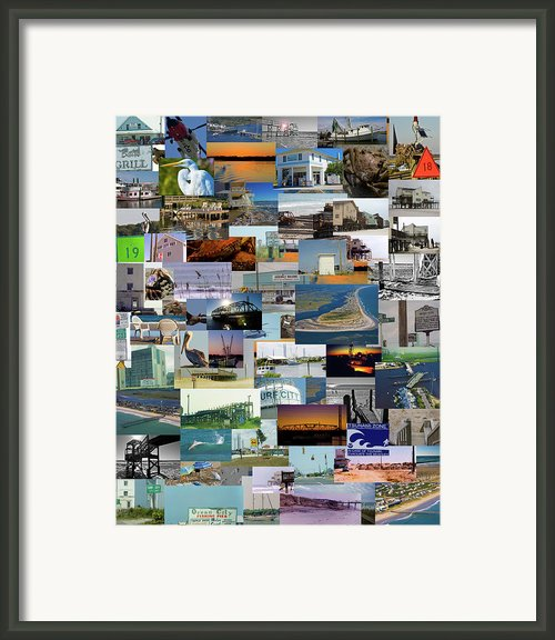 Topsail Island Nc Collage  Framed Print By Betsy A Cutler East Coast Barrier Islands