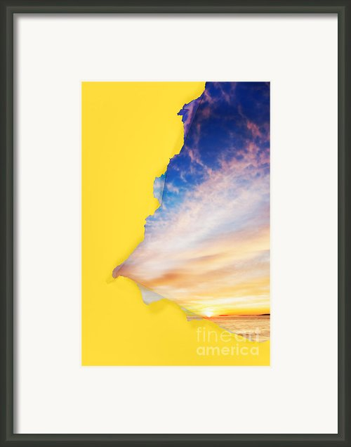 Torn Paper Sunrise Framed Print By Jo Ann Snover