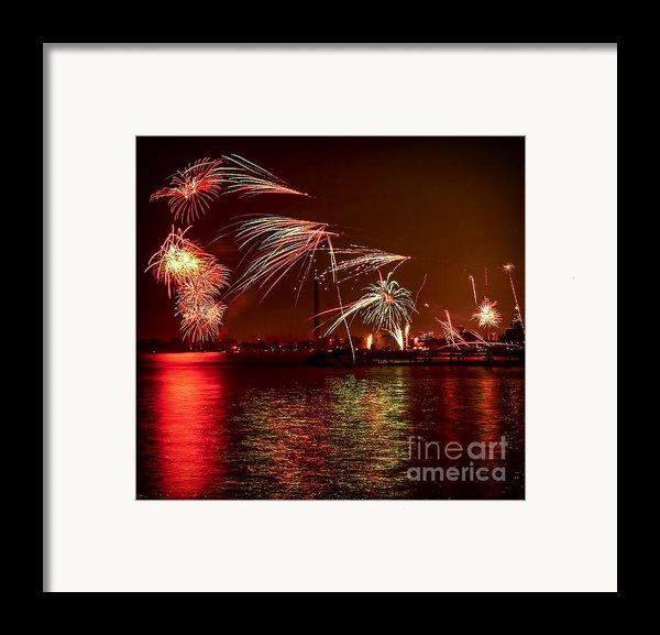 Toronto Fireworks Framed Print By Elena Elisseeva
