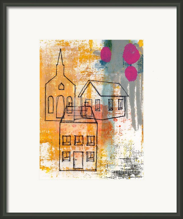 Town Square Framed Print By Linda Woods