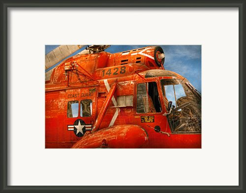 Transportation - Helicopter - Coast Guard Helicopter Framed Print By Mike Savad