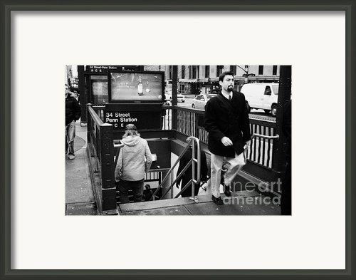 Travellers Exiting And Entering 34th Street Entrance To Penn Station Subway New York City Framed Print By Joe Fox