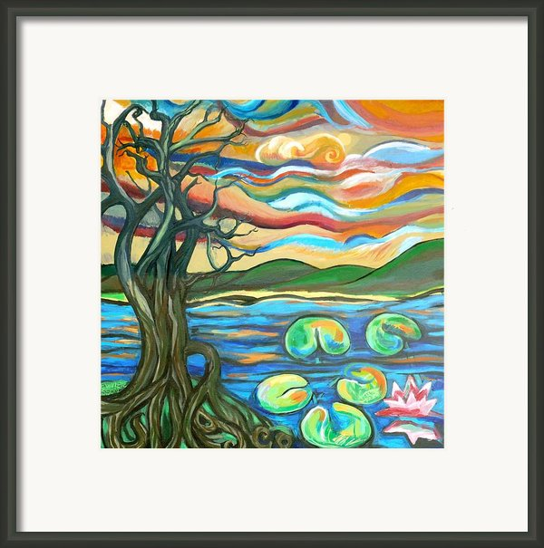 Tree And Lilies At Sunrise Framed Print By Genevieve Esson