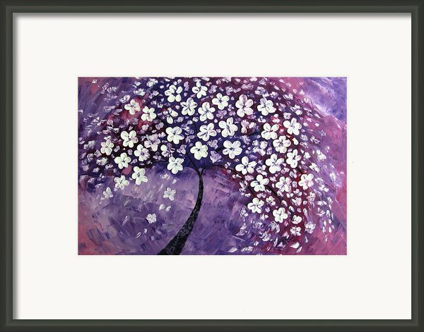 Tree In Purple Framed Print By Mariana Stauffer