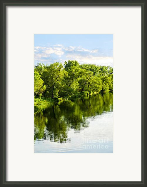 Trees Reflecting In River Framed Print By Elena Elisseeva