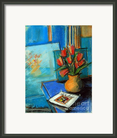 Tulips In The Mirror Framed Print By Emona Art