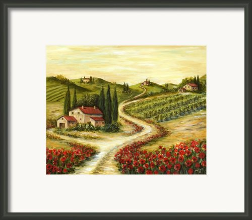 Tuscan Road With Poppies Framed Print By Marilyn Dunlap