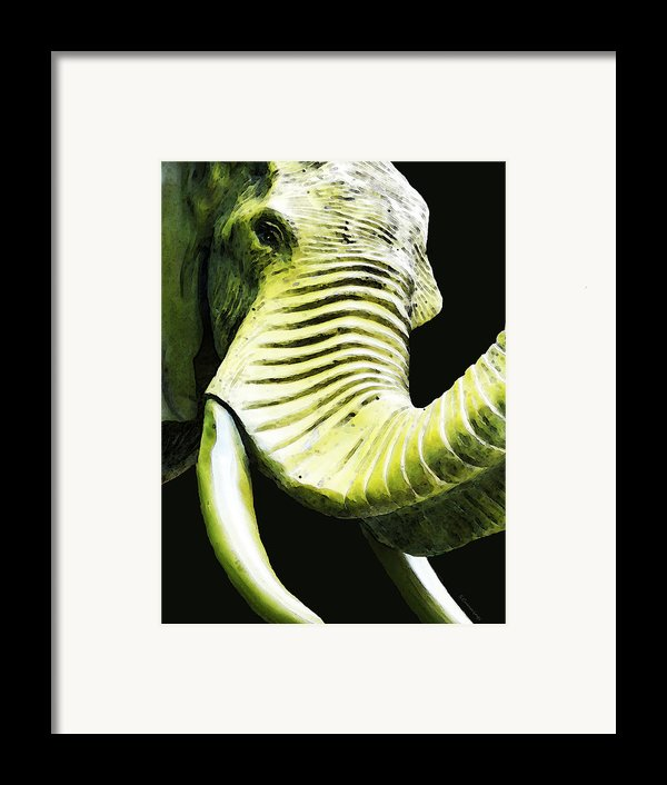 Tusk 1 - Dramatic Elephant Head Shot Art Framed Print By Sharon Cummings
