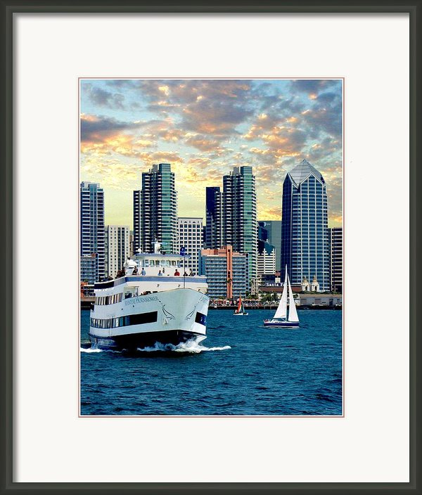 Twilight Harbor Cruise 2 Framed Print By Ronald Chambers