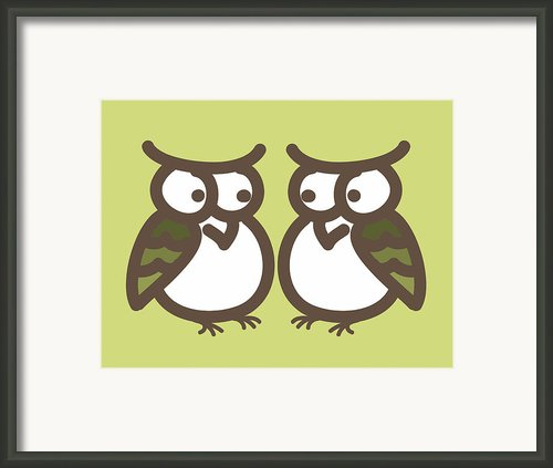 Twin Owl Babies- Nursery Wall Art Framed Print By Nursery Art