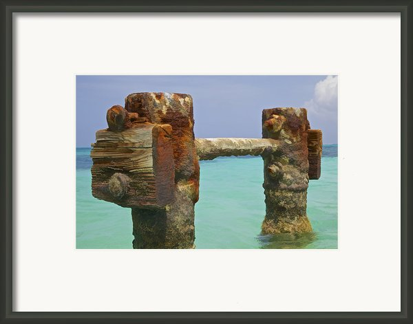 Twin Rusted Dock Piers Of The Caribbean Framed Print By David Letts