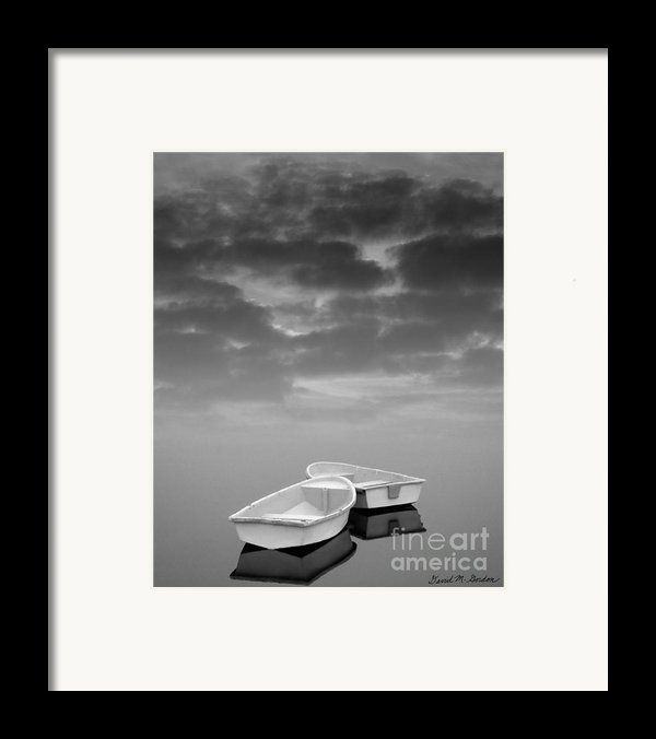 Two Boats And Clouds Framed Print By David Gordon