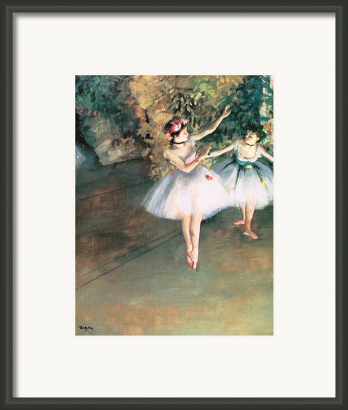 Two Dancers On A Stage Framed Print By Edgar Degas