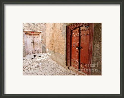 Two Doors In The Old Town Of Kashgar Framed Print By Robert Preston