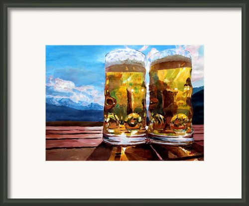 Two Glasses Of Beer With Mountains Framed Print By M Bleichner