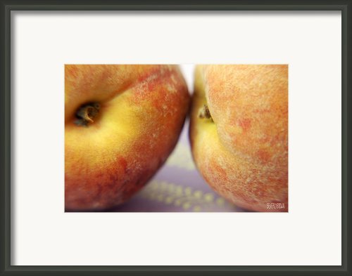 Two Peaches On A Purple Background Framed Print By Beverly Brown Prints