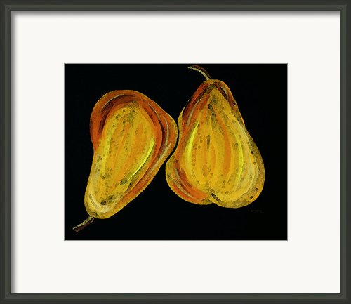 Two Pears - Yellow Gold Fruit Food Art Framed Print By Sharon Cummings