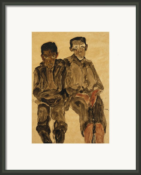 Two Seated Boys Framed Print By Egon Schiele