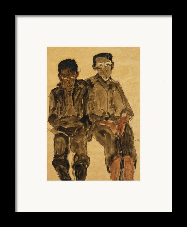 Two Seated Boys Framed Print By Egon Schiele