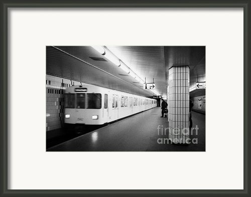 U-bahn Train Pulling In To Ubahn Station Berlin Germany Framed Print By Joe Fox