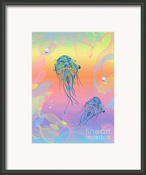Under The Sea Jelly Fish Framed Print By Cheryl Young