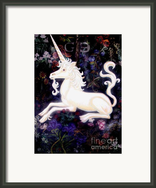 Unicorn Floral Framed Print By Genevieve Esson