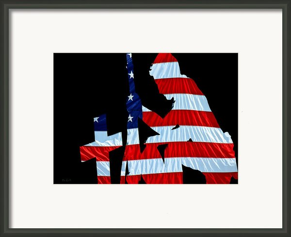 United States Flag With Kneeling Soldier Silhouette Framed Print By Bob Orsillo