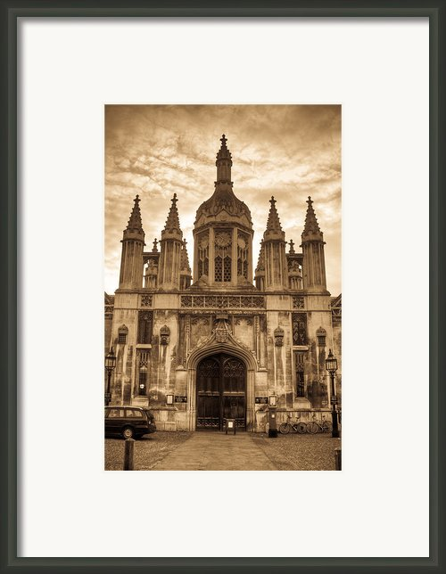University Entrance Door Sepia Framed Print By Douglas Barnett