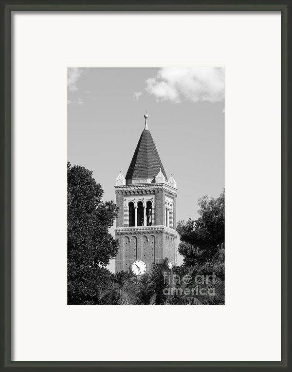 University Of Southern California Clock Tower Framed Print By University Icons