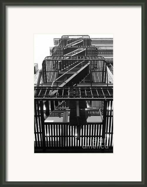 Urban Fabric - Fire Escape Stairs - 5d20592 - Black And White Framed Print By Wingsdomain Art And Photography