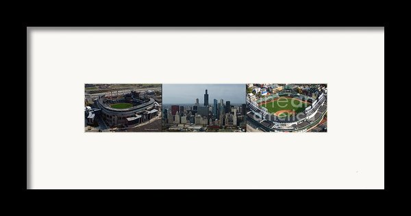 Us Cellular And Wrigley Field Chicago Baseball Parks 3 Panel Composite 02 Framed Print By Thomas Woolworth