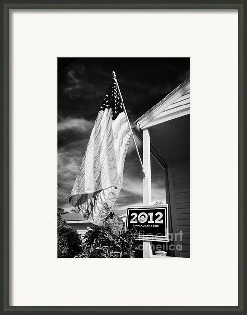 Us Flag Flying And Barack Obama 2012 Us Presidential Election Poster Florida Usa Framed Print By Joe Fox