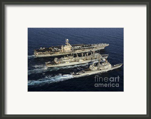 Uss John C. Stennis, Uss Mobile Bay Framed Print By Stocktrek Images