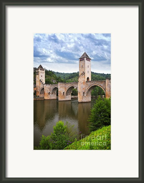 Valentre Bridge In Cahors France Framed Print By Elena Elisseeva