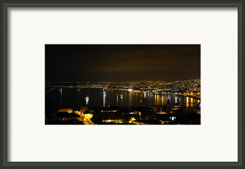 Valparaiso Harbor At Night Framed Print By Kurt Van Wagner