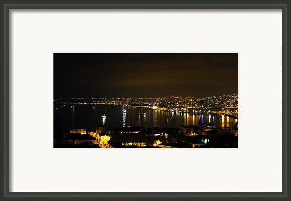 Valparaiso Harbor At Night Framed Print By Kurt Van Wagner