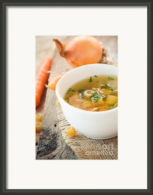 Vegetable Soup With Pasta Framed Print By Mythja  Photography