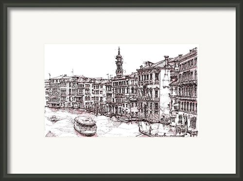 Venice In Pen And Ink Framed Print By Lee-ann Adendorff