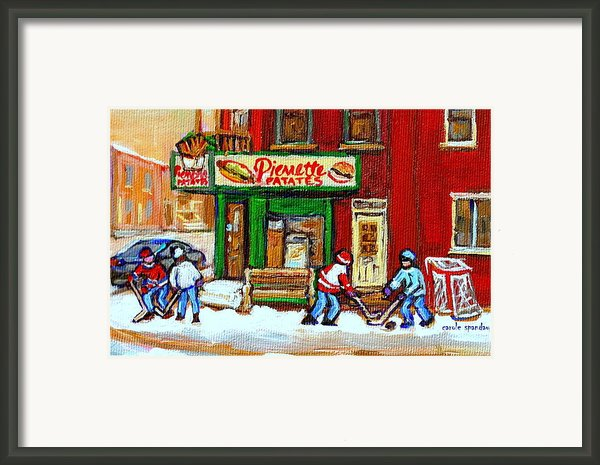 Verdun Hockey Game Corner Landmark Restaurant Depanneur Pierrette Patate Winter Montreal City Scen Framed Print By Carole Spandau