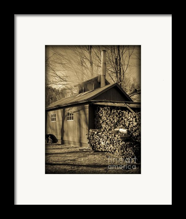 Vermont Maple Sugar Shack Circa 1954 Framed Print By Edward Fielding