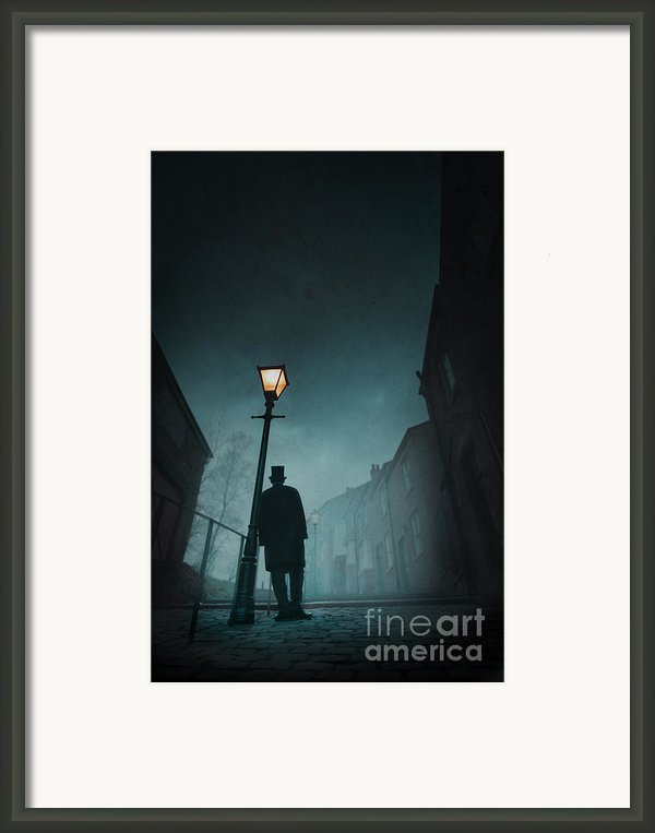 Victorian Man With Top Hat Leaning On A Street Light Framed Print By Lee Avison