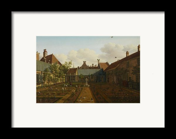 View Of A Town House Garden In The Hague Framed Print By Paulus Constantin La Fargue