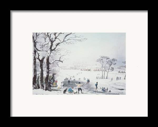 View Of Buckingham House And St James Park In The Winter Framed Print By John Burnet